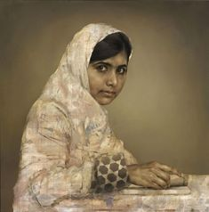 Undated photo issued Tuesday, by the British National Portrait Gallery, showing a painting by artist Jonathan Yeo depicting the teenager education activist Malala Yousafzai, doing her homework.