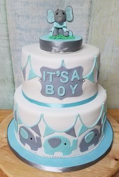 Grey and Blue Elephant, It's a Boy! Baby Shower Cake with Fondant Elephant