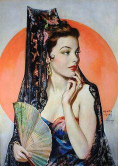 kittypackards:  Gene Tierney as Lola Montez by artist Henry Clive, 1946.