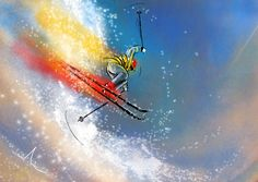 Ski Jumping  Painting ©2011 by Miki de Goodaboom -