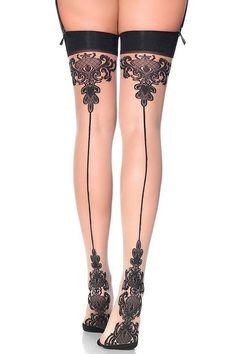 d0ce4ae8d6cf1 Women's Sheer Baroque Cuban Heel Back Seam Stockings