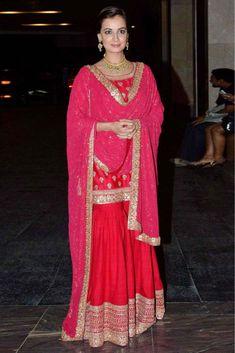 Wedding guest style - Sangeet - Dia Mirza in a red & hot pink Sabyasachi sharara 1 - Masaba Gupta and Madhu Mantena Wedding 2015 Sharara Designs, Pakistani Dresses, Indian Dresses, Indian Outfits, India Fashion, Ethnic Fashion, Indian Attire, Indian Wear, Lehenga Choli
