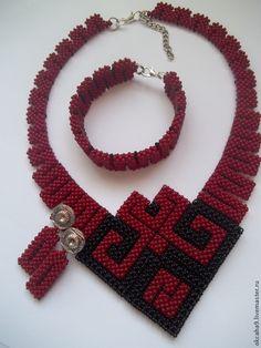 Купить Красное и черное - ярко-красный, комплект украшений, украшения ручной работы, украшения из бисера