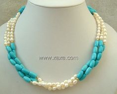 3 strand Real white freshwater pearl & turquoise necklace White Freshwater Pearl, Freshwater Pearl Necklaces, Turquoise Jewelry, Gemstone Jewelry, Antique Stores, Fresh Water, Beaded Necklace, Gemstones, Jewels