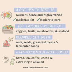 What is the Gut Health Diet?  #guthealth #aip #aipdiet #guthealthdiet #guthealing #leakygut #autoimmuneprotocol Paleo Mom, Paleo Diet, Grass Fed Meat, Gut Microbiome, Gaps Diet, Holistic Approach, Alternative Medicine, Health Diet, Wellness