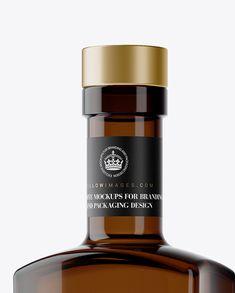 500ml Square Amber Glass Bottle Mockup – Half Side View