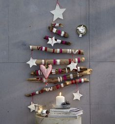 Wall Christmas Tree Decorating Ideas is a new modern method to change the Christmas tree from traditional tree to of wall tree. With the charming wall Christmas Unusual Christmas Trees, Wooden Christmas Trees, Noel Christmas, Modern Christmas, Beautiful Christmas, Cabin Christmas, Purple Christmas, Xmas Trees, Coastal Christmas