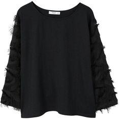 MANGO Fringe t-shirt (€16) ❤ liked on Polyvore featuring tops, t-shirts, sweaters, black denim, mango tee, long sleeve fringe top, mango t shirt, long sleeve round neck t shirt and long sleeve t shirts