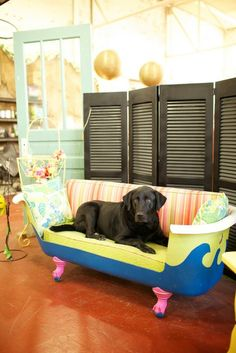 They turned a cast iron bathtub into a settee! Sally at Black Dog Salvage in Roanoke, VA.