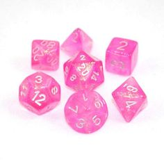 Set of 7 Chessex Borealis Pink/silver RPG Dice