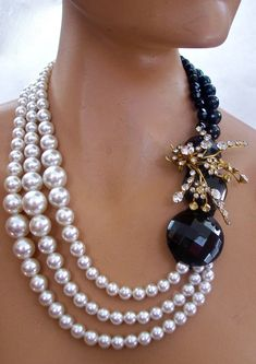 Black and White Necklace Pearls with Austrian Crystals by secondlookjewelry