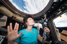 ": NASA astronaut Terry Virts and European Space Agency astronaut Samantha Cristoforetti took two photos honoring ""Star Trek"" actor Leonard Nimoy. Leonard Nimoy, Space Tv, Space Photos, Space Images, Star Trek Actors, Star Trek Shirt, Okuda, Nasa History, Astronauts In Space"