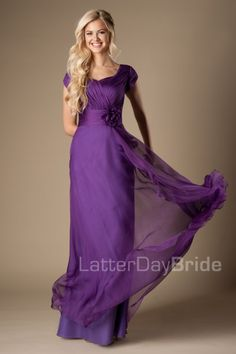 modest prom gown at LatterDayBride with chiffon, the Marley in iris