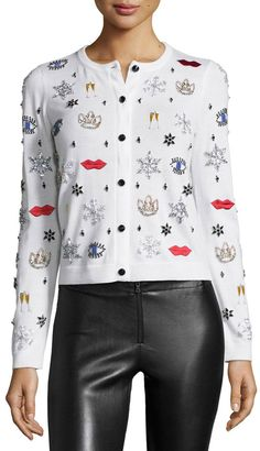 Alice + Olivia Stacey Rhinestone & Applique Wool Sweater, White