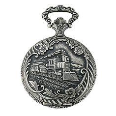 Gotham Men's Antiqued Silver-Tone Locomotive Design Day-Date Quartz Covered Pocket Watch # Locomotive, Gotham, Quartz Pocket Watch, Graphics Fairy, Watch Companies, Vintage Watches, White Ceramics, Antique Silver, Retro Vintage
