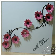 Handmade Card. Interesting style idea, black vine (stamped or hand drawn) with 3D flowers.