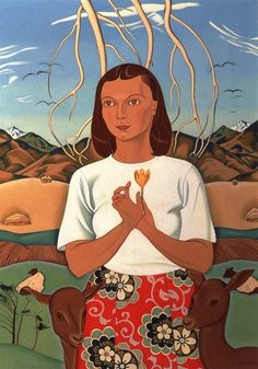 Rita Angus - A Goddess of Mercy, oil on canvas, 866 x 1945 - 47 Collection: Christchurch Art Gallery Te Puna o Waiwhetu Matisse, Folk, New Zealand Art, Nz Art, Kiwiana, Canterbury, Public Art, Figure Painting, Art World