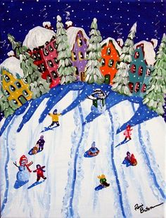 Items similar to Sled Riders Whimsical Kids Snow Winter Folk Art Giclee PRINT on Etsy 2019 - Christmas Artwork, Christmas Paintings, Winter Painting, Winter Art, Yellow Art, Mellow Yellow, Ecole Art, Naive Art, Art Plastique