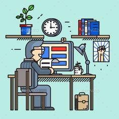 Modern creative office desk worker in line flat style. Office workplace, routine process, businessman busy. Vector illustration