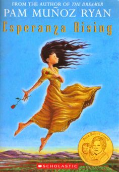 Ryan- Munoz, P. (2000). Esperanza Rising. New York: Scholastic Inc.  This historical fiction novel is written about a young girl named Esperanza who is the daughter of a wealthy rancher in Mexico. After her father is murdered, Esperanza and her mother escape with their servants to live in America. Esperanza and her family come to America with hope of a new life, yet are stuck working as migrant workers in the fields.