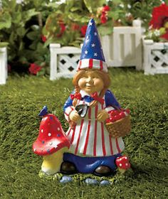 Girl Patriotic Garden Gnome Statue Lawn Yard Flowerbed Deck Patio Porch Home New | eBay
