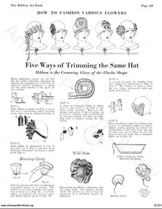 1920s ribbon work book, 5 ways to trim a hat