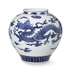 Dragon Ceramic Vessel, Large, Blue