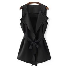 Black Tie-Waist Bow Vest Outerwear ❤ liked on Polyvore featuring outerwear, jackets and vest waistcoat