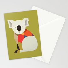 Koala // Greeting Card, Postcard // This is part of a Wildlife of Australia series which also includes Platypus, Kangaroo, Emu and Wombat // Stationery, Greetings, Animal Nursery,  Australian Art Print, Nature Greeting Card, Australian Bird, Australian Animal, Australian Wildlife, Australian Animals Nursery, Animal Retro, Mid-century Animal, Animal Illustration, Australian Art, Australia