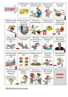 A guided speaking activity about activities and future wishes. Students learn to ask and answer question about activities they like doing, things they like in general and about things they would like to do in the future.  - ESL worksheets