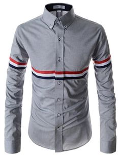 (AL114-GRAY) Slim Fit Button Down Chest Three Colors Line Patched Long Sleeve Shirts