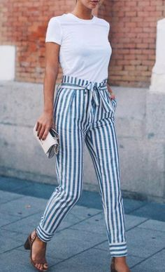 white crewneck + stripe pants