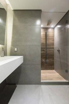 Apartamento decorado em tons de cinza: ambientes sóbrios e modernos - Country House Interior, Home Interior Design, Modern Luxury Bathroom, Remodled Bathrooms, Bathroom Trends, Bathroom Ideas, Bathroom Colors, Colorful Bathroom, Bathroom Inspiration