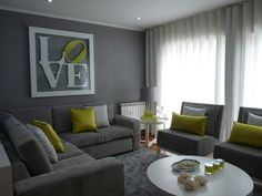 living rooms - Grey living room textured wallpaper white furniture acid green chevron seccional sofas. Amazing living room area, with textured #EasyNip