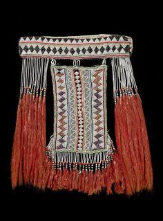 Saudi Arabia ~ Asir mountain region | Face veil; cotton, silk and glass beads
