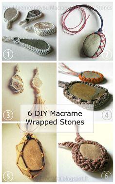 True Blue Me & You: DIYs for Creatives — DIY 6 Macrame Wrapped Stone Tutorials from...