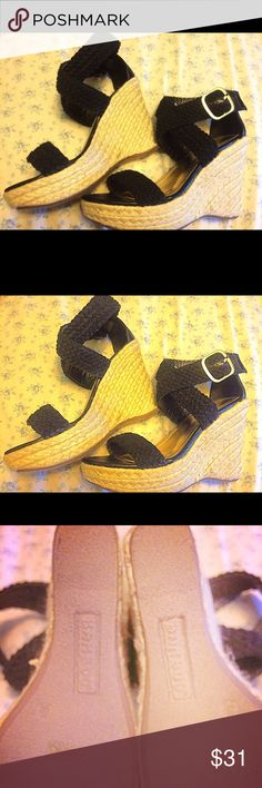 Leather Look Macrame Jute  Ankle Wedges  BAMBOO Black beautiful high wedges. Newly used worn twice only. Size 81/2 Faux Leather. Sold as is ., offers accepted  Bamboo Shoes Sandals