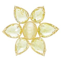 """Dorota Honey Opal & Lemon Citrine Flower Brooch in 18k yellow gold, composed of an oval-shaped, cabochon-cut honey opal center surrounded by inverted pear-shaped lemon citrine """"petals."""" Opal weighing 25.69 carats and citrines weighing 116.78 total carats."""