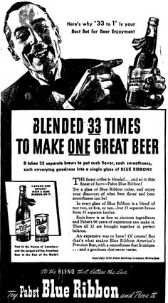 Pabst Blue Ribbon blended 33 to 1? - Home Brew Forums