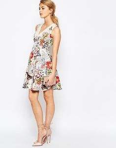 Image 4 of Oasis Botanical Placement Skater Dress