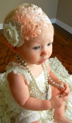 Valentine's Day Headband **GWG Original Design! Show Stopper!!!  Gorgeous vintage inspired headband! Baby pink Feather with Swarovski crystals, Ivory/ mettalic lace rosette with all metal crystal center, all adorn a high quality ivory lace headband! I created this for my daughter's first birthday and only the best for h...