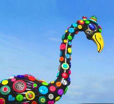 Button Flamingo yard art handmade lawn art recycled by CedarMoon, $75.00