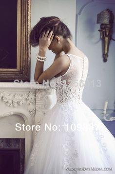 Berta Princess Sleeveless Pearl Beaded Sweetheart Lace Appliqued Floor-length Custom Made Elegant Women Wedding Dress