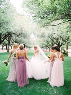 1e1cc0d7838a Featured Photographer: Stephanie Brazzle Photography; Bridesmaid dresses  ideas. Wedding Dress Train, Wedding
