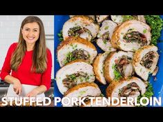 A juicy Stuffed Pork Tenderloin loaded with mushrooms and bacon. This pork roulade looks fancy but it is an EASY and inexpensive way to feed a crowd. Pork Tenderloin Recipes, Roast Recipes, Pork Roast, Burger Recipes, Bacon Stuffed Mushrooms, Stuffed Pork, Pork Roulade, Kitchen Recipes, Cooking Recipes
