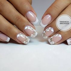 french nails for wedding Sparkle French Tip Nail Designs, French Tip Nails, Nail Art Designs, Bride Nails, Wedding Nails, Cute Nails, Pretty Nails, Hair And Nails, My Nails