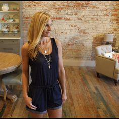 """Super soft navy denim knit romper Very soft stretchy comfortable fit, cinch tie waist, modeling size small,  bust laying flat: S 18"""" M 19"""" L 20"""" XL 21"""" length S 29"""" M 30"""" L 31"""", XL 32"""". inseam 3.5"""". Add to bundle to save on purchases of two or more items from my closet. OS8771221 Pants Jumpsuits & Rompers"""