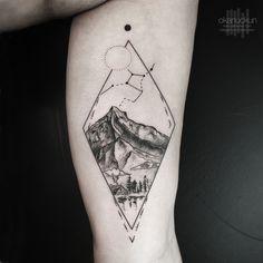 Little Tattoos — Landscape tattoo on the left inner arm. Mini Tattoos, Dreieckiges Tattoos, Left Arm Tattoos, Globe Tattoos, Little Tattoos, Arm Tattoos For Guys, Trendy Tattoos, Body Art Tattoos, Small Tattoos