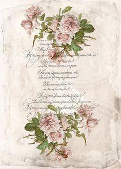 Cottage Art, Decoupage Vintage, Romantic Pictures, Wedding Prints, Diy Crafts Hacks, Scrapbook Journal, Rose Design, Bird Art, Pattern Wallpaper