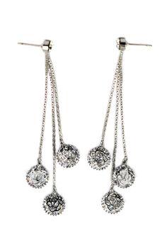 elegant pendant crystal rose earrings